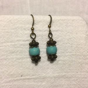 Turquoise colored earrings